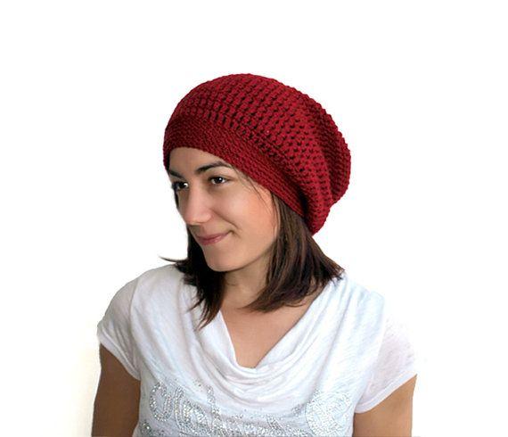 Red Slouchy Hat Crochet Hat winter accessory  by PepperKnit