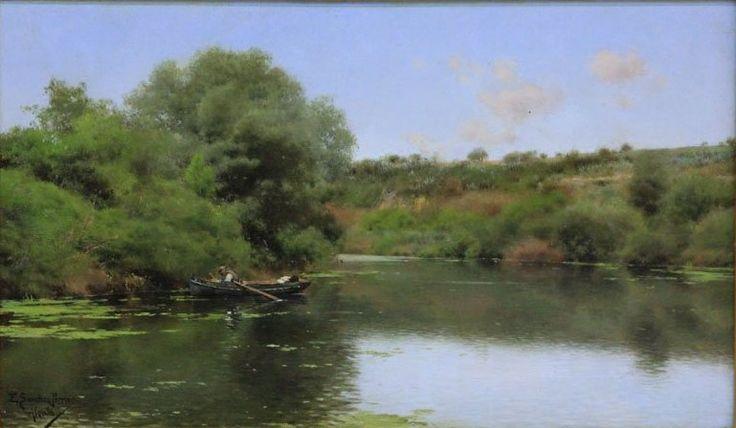 """Emilio Sanchez Perrier- Landscape on River, oil on board, 6 3/4 x 11 1/2"""""""