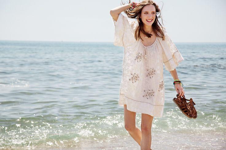 summer look _fringed sandals _beach dress