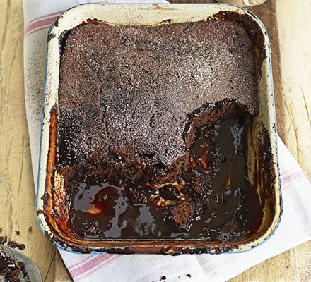 Break through the spongey chocolate topping to reveal a puddle of sauce in this super-simple dessert with Irish cream liqueur