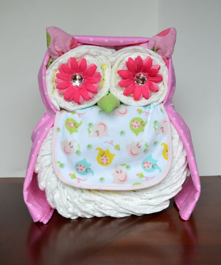 baby diaper owl | Boy or Girl Owl Diaper Cake Baby Shower by PolkaDotsandZigZags, $38.99