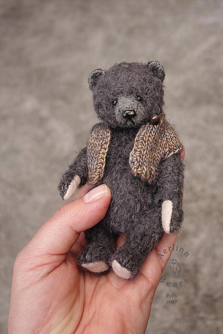 Image of Folly, Miniature Grey Mohair Artist Teddy Bear from Aerlinn Bears
