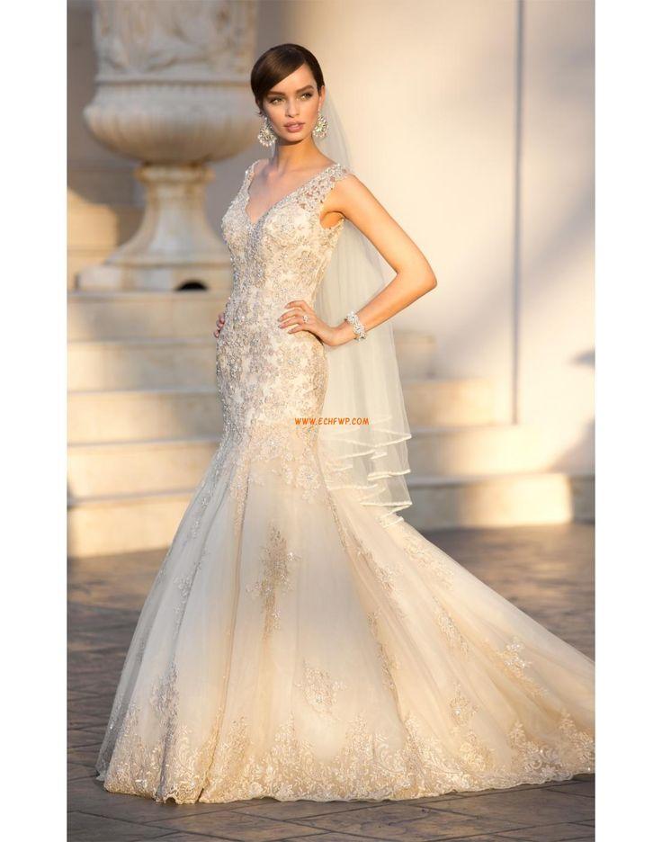 Kostel Bez rukávů Přírodní Luxusní svatební šaty