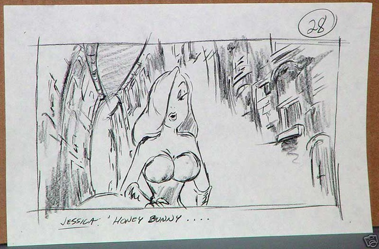 Who Framed Roger Rabbit storyboards - Jessica, Eddie and Benny the Cab. Celebrating 25 Years of Roger and Jessica Rabbit.