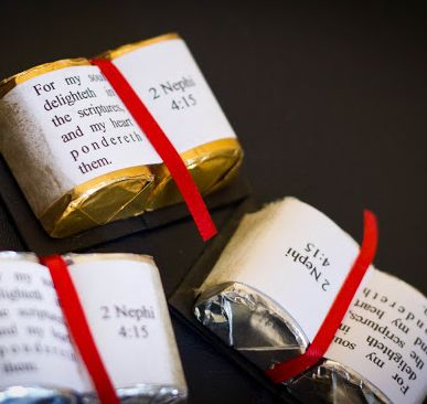 Chocolate Scriptures...Use your favorite Bible verse on top of two mini candy bars for cheap chocolate communion favors.