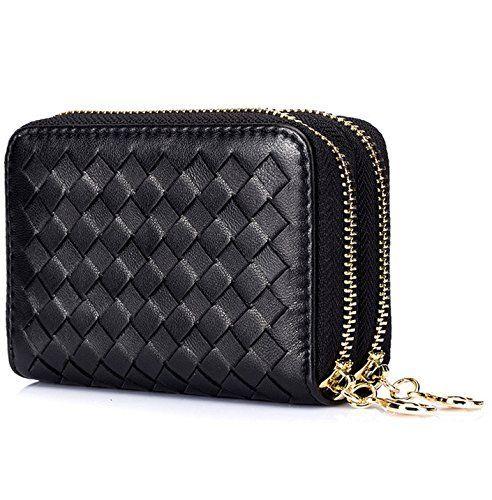 Women's RFID Block Genuine Leather Secure Credit Card Holder Wallet w Keychain -…