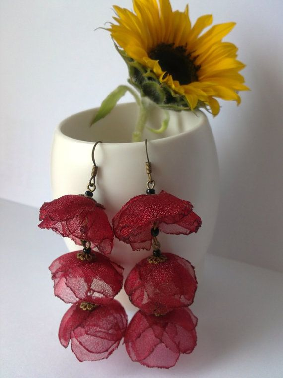 Blossom Chain Earrings made out of red Organza by SHAREurColours, £12.00