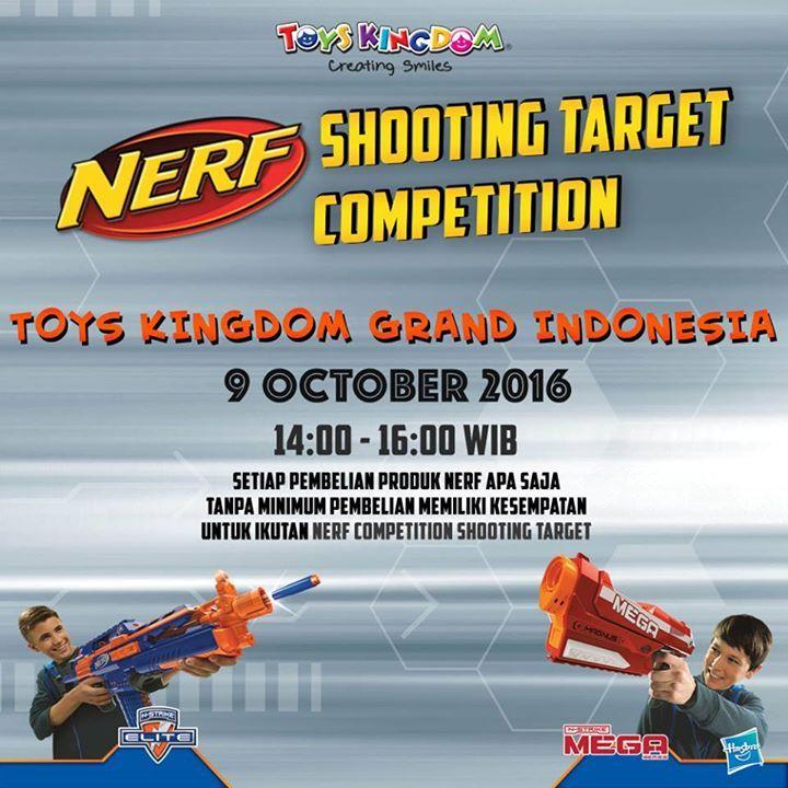 Beli 1 #Nerf apa saja bisa dapat hadiah 1 Nerf Jolt atau merchandise dengan ikutan Nerf Shooting Target Competition besok di Toys Kingdom Grand Indonesia! Latihan dulu di rumah biar tembakannya tepat sasaran ya, Smileys! #TOYSFORKIDS