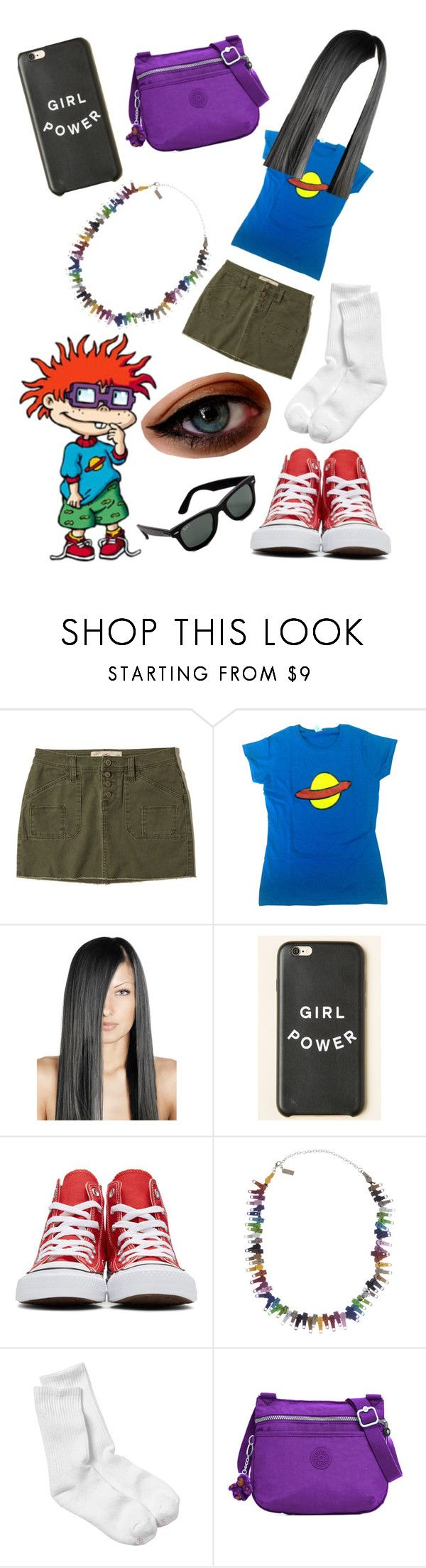 """Chuckie Finster Outfit"" by cooljen13 ❤ liked on Polyvore featuring Hollister Co., Nickelodeon, Converse, Marc Jacobs, Hanes, Kipling, Ray-Ban, rugrats and the90"