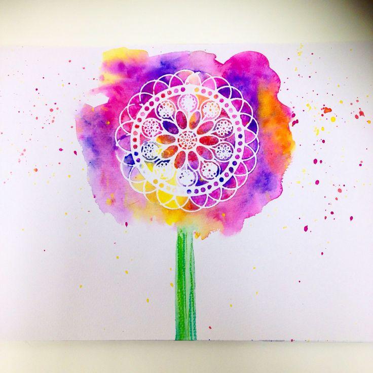Floral Acacia - Watercolour Stencil Design Print
