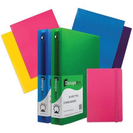 JAM Paper Back-To-School Classwork Pack, Glossy Folders, 1.5 inch Binders, Journal, Pink, 7pk