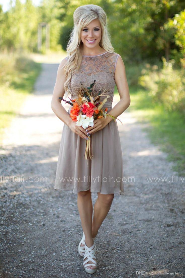Best 25 country style bridesmaid dresses ideas on pinterest 2016 tan new country style bridesmaid dresses jewel sheer a line knee length summer beach mini ombrellifo Choice Image