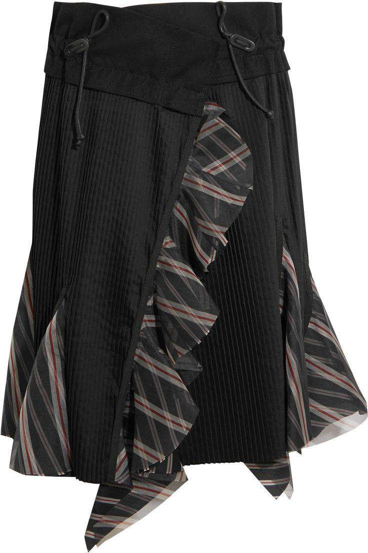 Sacai | Ruffled silk organza-trimmed pleated poplin skirt | NET-A-PORTER.COM