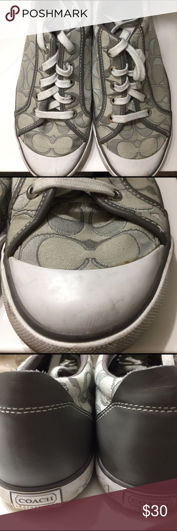 Coach tennis shoes size 9 These Coach tennies are so comfortable and cute.  They have been loved but have a lot of life left for sure. They are ladies size 9 and are gray. Coach Shoes Sneakers