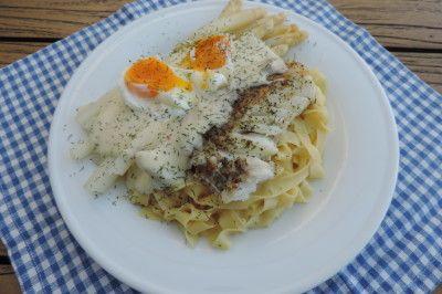 Asperges pasta en kabeljauw met een heerlijke dillesaus