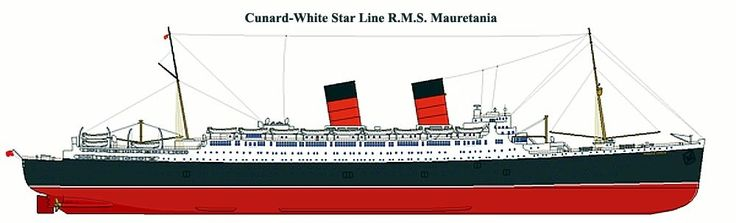 This illustration of RMS Mauretania 2, Cunard White Star Line, reveals the RMS Queen Elizabeth similarity, havingmthat same beautiful hull and a traditional xruiser stern, two tall masts and funnels as well as a similar lifeboat and deck arrangement.
