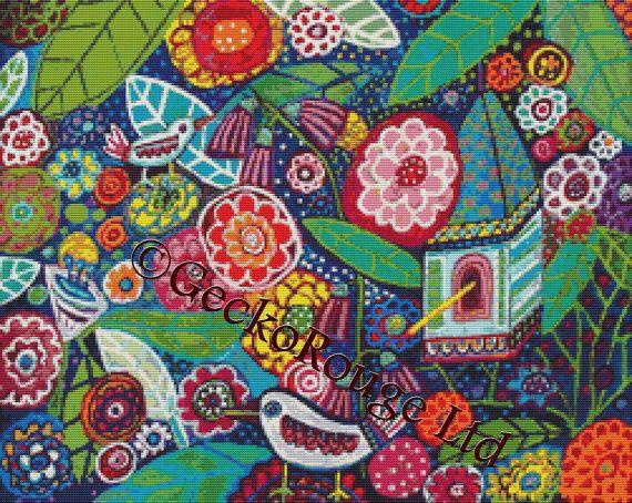 Modern Cross Stitch Kit 'Bird House' By Heather by GeckoRouge