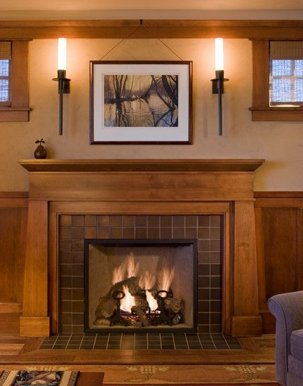 Craftsman fireplace mantels 25 pinterest for Craftsman fireplace pictures