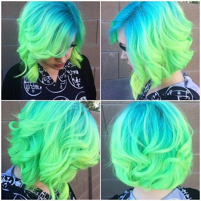 v i b r a n t blue and green hair