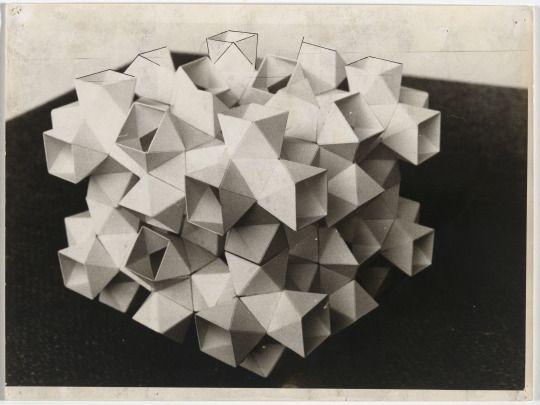Günter Günschel , Innen und aussen bespielbarer Pavilion Kunststoffelementen aus für elektronische Medien 1963, Ink on photography,  20.9 x 29.9 cm