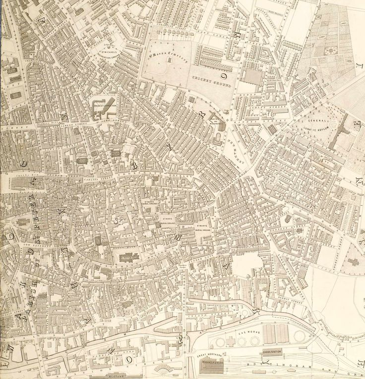 """Map of 1862. Have a look at the """"County Goal"""" building. Nottingham natives will have noticed the carved spelling above the window on the actual building."""