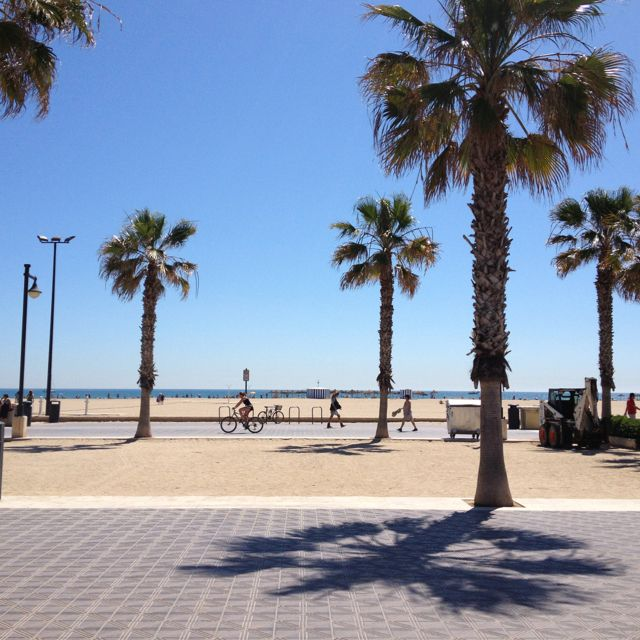 This is the wonderful sandy beach opposite Restaurate La Pepica in Valencia