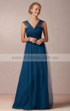 Chiffon V-neck Natural A-line Floor-length Bridesmaid Dresses 0740674--Hodress