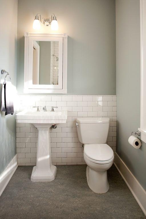 Traditional Powder Room With Powder Room Kohler White Pedestal Sink Built In Bookshelf Paint