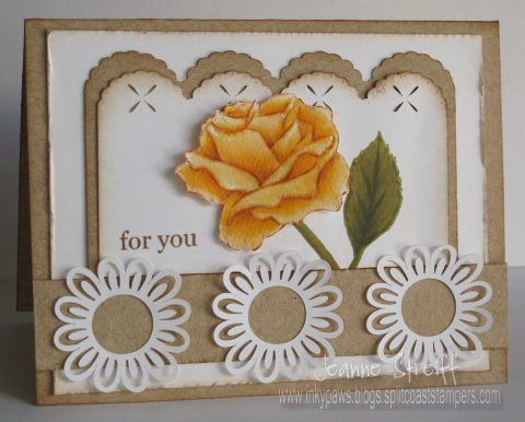 CPS255 For You at Inky Paws designed Jeanne Streiff - uses a Sizzix eclips and  Shinhan Touch Twin markers: Cards Design, Cards 18, Card Designs, Yellow Rose, Cards Ideas, Cards W Punch, Cards Flowing, Cards Cuttlebug, Cards Handmade