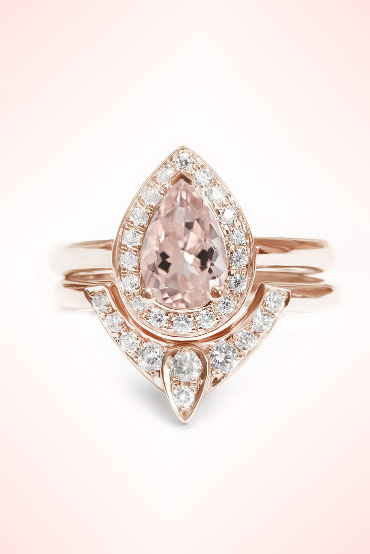 Pear shaped morganite engagement ring and diamond wedding for Wedding and engagement ring set