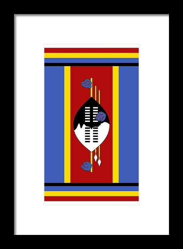 Southern Africa Framed Print featuring the mixed media Swaziland Flag by Otis Porritt
