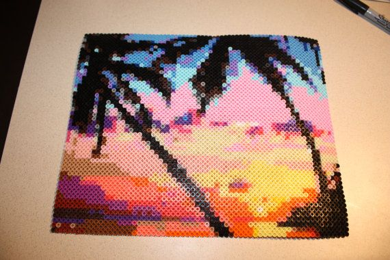 "Perler Bead Sunset with Palm Trees Beach. This is a one-of-a-kind handmade perler bead landscape of a colorful beach sunset , 3213 beads ,the dimensions are approx 10"" x 13"".  By SandCbeadworks on Etsy"