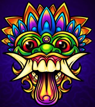 How to Draw a Balinese Mask, Bali Mask, Step by Step, Symbols, Pop Culture, FREE Online Drawing Tutorial, Added by Dawn, August 3, 2013, 12:08:03 pm