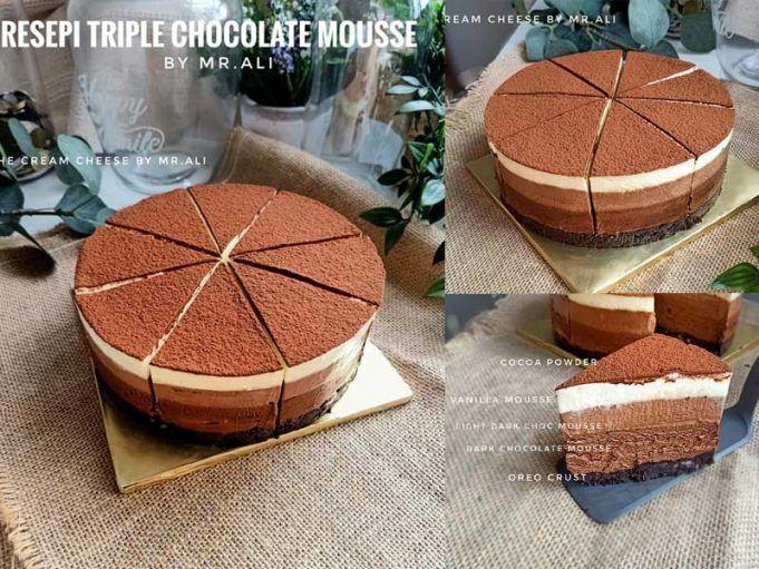 Coklat Mousse 3 Lapis Tanpa Telur Hanya 2 Bahan Triple Chocolate Mousse Youtube Triple Chocolate Chocolate Mousse Cake Recipes