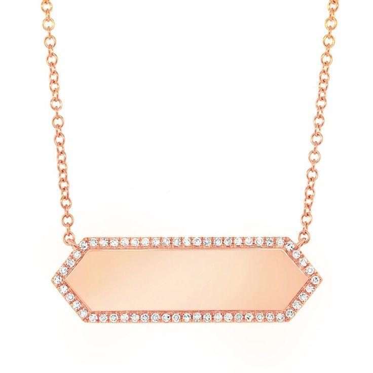 14KT Rose Gold Diamond Rimmed Bar Necklace
