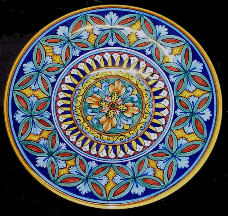 "Deruta Italian Pottery Hand Painted Geometrico Vario Large Plate Platter 12"" | eBay"