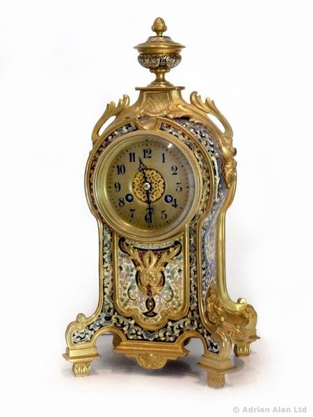 OnlineGalleries.com - A Fine Gilt-Bronze and Champlevé Enamel Clock