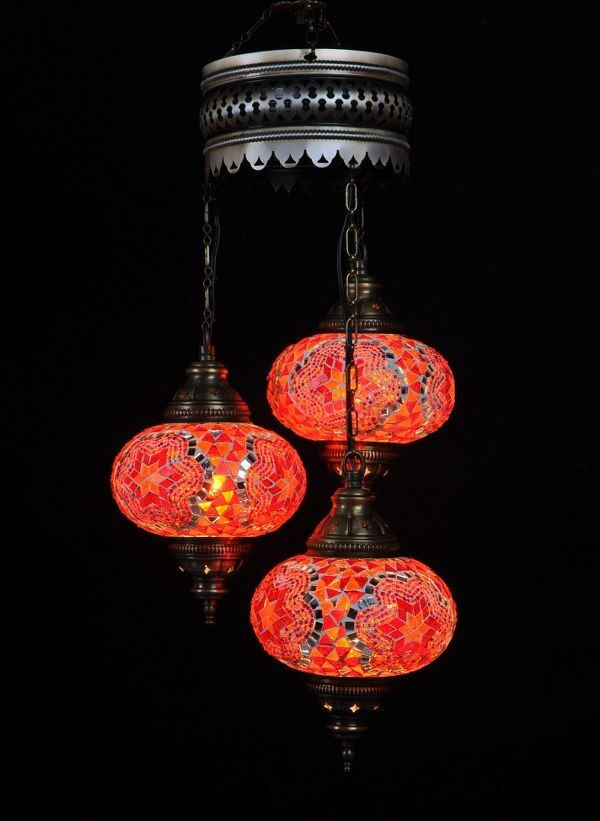 Turkse Kroonluchter Mozaiek Rood 3 Bollen Turkse Lampen Turkse Lampen Lampen En Kleuren