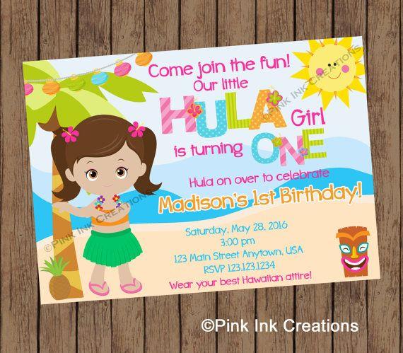 HULA GIRL Birthday Invitation / Hawaiian by PinkInkCreation