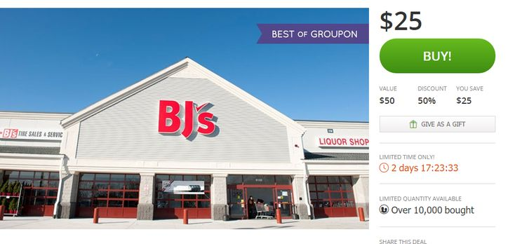 50% off BJ's Membership with Groupon Offer! Valid TWO Days ONLY! - http://www.mybjswholesale.com/2016/02/50-off-bjs-membership-with-groupon-offer.html/