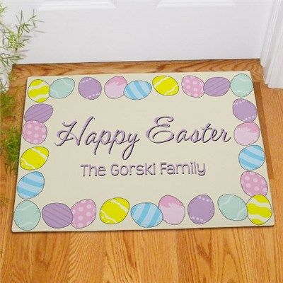 62 best personalized for the home images on pinterest indoor personalized happy easter personalized doormat gifts happen here negle Image collections
