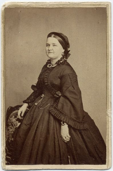"""*MARY TODD LINCOLN ~ (1863) Still dressed in mourning following the death of Willie Lincoln the previous year, Mary Lincoln had this portrait taken at the studio of E. & H.T. Anthony in Washington, D.C. Many years later, Robert Lincoln apparently lent the photograph to someone, perhaps a publisher, and wrote on the back """"Return to the Hon. R.T. Lincoln."""" Title: Mary Todd Lincoln (1863) Creator: E. & H.T. Anthony (Firm), Origin Date:1863"""