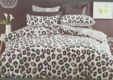 ANIMAL PRINT SNOW LEOPARD BLACK GREY DOUBLE bed QUILT DOONA COVER SET NEW