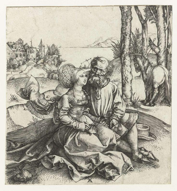 De ongelijke liefde: een oude man met een jonge vrouw, Albrecht D�rer, 1493 - 1497