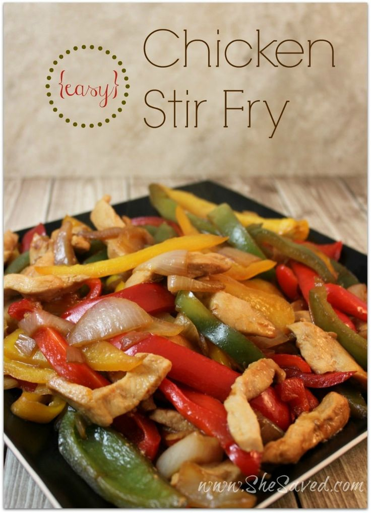 Easy Chicken Stir Fry Recipe - SheSaved®  This is a great freezer meal too. Prep ahead of time, cook when you're ready!