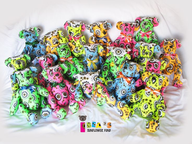 #44 - #63 Sunflower Fund Bandana Day (2013) - All these teddy bears were sponsored and generously donated to the kids at the Tygerberg Hospital Oncology Ward #Sunflower_Fund #Teddie_Bear