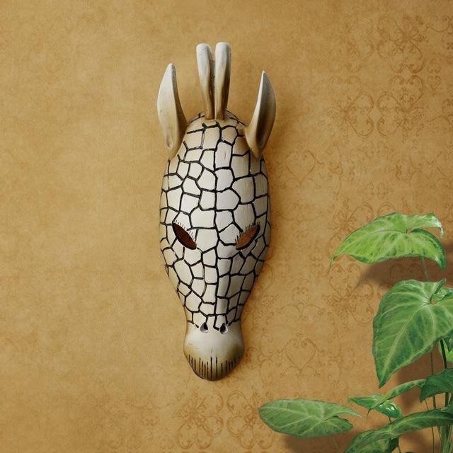 African Elongated WALL MASK SCULPTURE Savannah Animal Tribal Girafffe Home Art