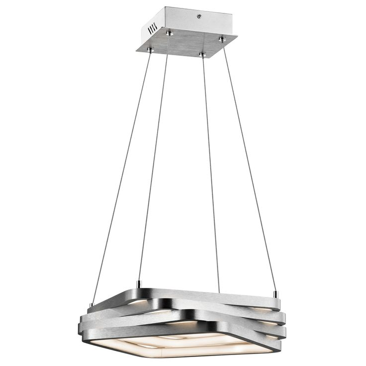 Elan Kyrzo 83611 Ceiling Light - Satin Aluminum Finish with Etched Acrylic Diffuser LIGHT SOURCE: LED Warm White   Fixture Dimensions:  15.75 L x 15.75 W x 3.25 H; 111.25 Max. Hanging Ht.