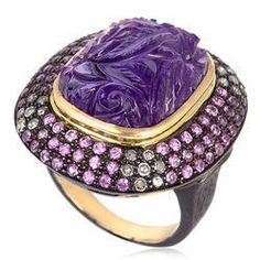 18k gold multi sapphire, amethyst and diamond ring by Gemco Designs