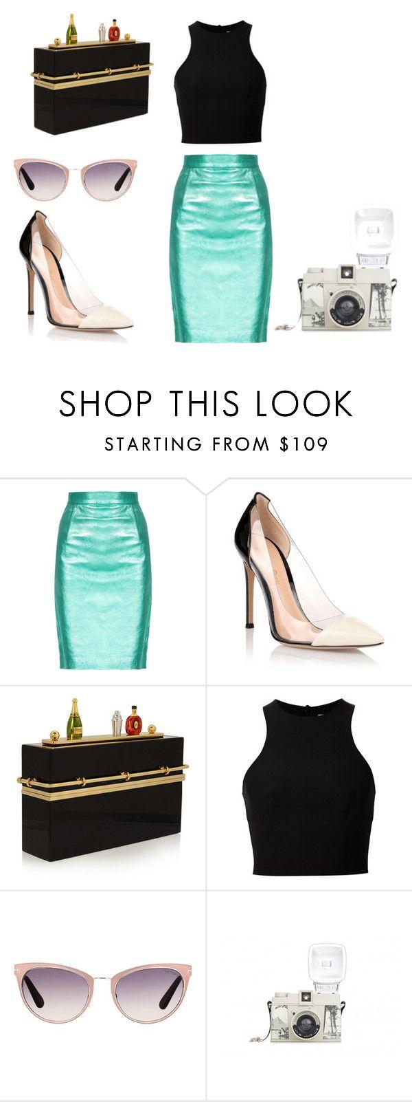 Un atuendo clásico pero al mismo  tiempo muy chit. Consiste en una falda tubo color verde metálico, con un top negro, unos zapatos picudos de color negro y crema y el toque especial una cartera de barra de bar.